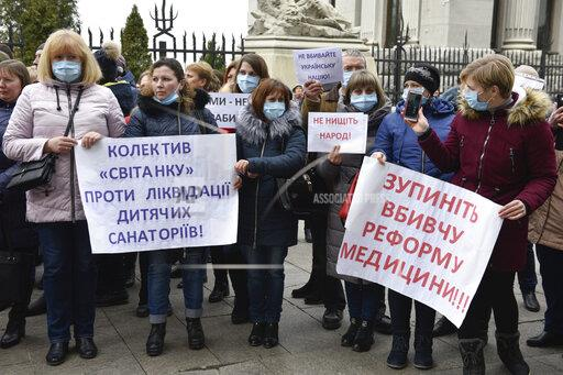 Protest against medical reform in Kiev, Ukraine - 26 Feb 2020
