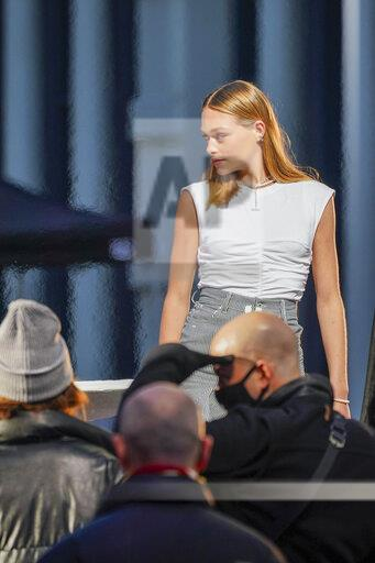 A model is seen in New York City at a photo shoot - 1/12/21