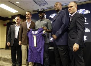 Matt Elam, John Harbaugh, Ozzie Newsome, Eric DeCosta, Joe Hortiz