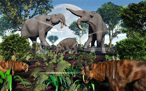 Creative AP T Prehistoric Era   horizontal A pair of Sabre-Toothed Tigers stalking a family of Deinotherium.