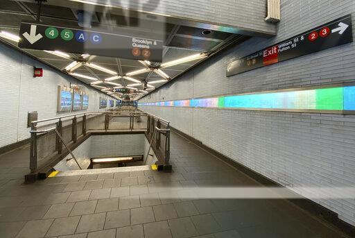 New York Subway Empty During Rush Hour Due To Coronavirus Pandemic
