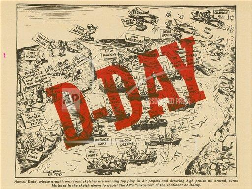 "Watchf AP I    APHSCA145 Graphic by Howell Dodd showing AP's D-Day ""Invasion Strategy"", 1944"