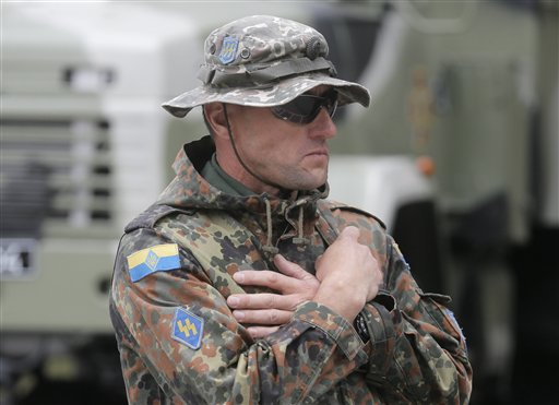 Ukrainian soldier with SS symbols