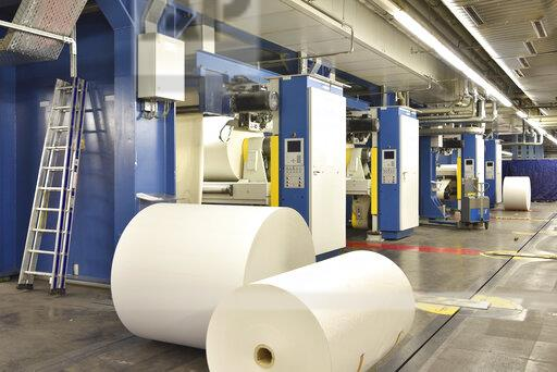 Printing shop: paper rolls at printing presses