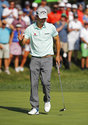 Kevin Kisner waves after hitting a birdie on the 15th hole during the second round of the PGA Championship golf tournament at Bellerive Country Club, Friday, Aug. 10, 2018, in St. Louis. (AP Photo/Jeff Roberson)