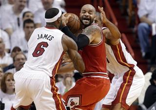 Carlos Boozer, LeBron James, Shane Battier
