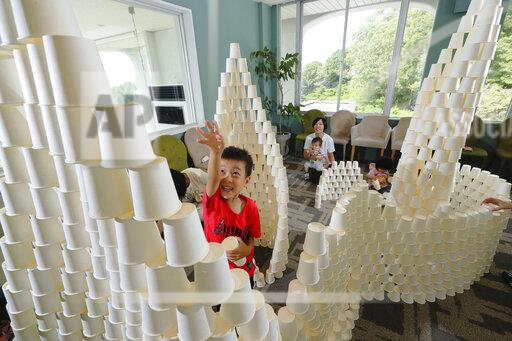 Tower made of paper cups in Japan