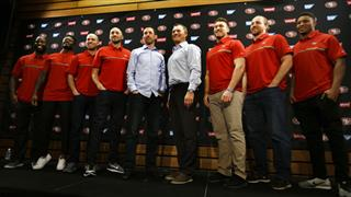 John Lynch, Kyle Shanahan, Pierre Gar'on, Marquise Goodwin, Robbie Gould, Brian Hoyer, Kyle Juszczyk, Logan Paulsen, Malcolm Smith