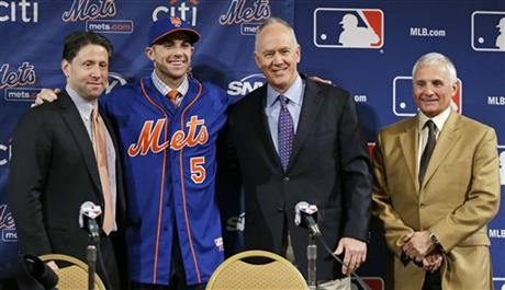Jeff Wilpon, David Wright, Sandy Alderson, Terry Collins