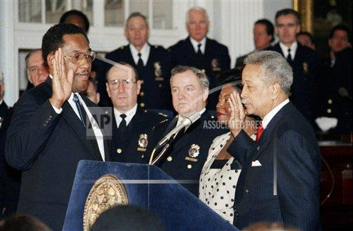 Watchf AP A  NY USA APHS289508 Police Chief Lee Brown and Mayor David Dinkins