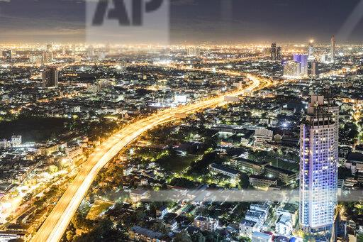 Thailand, Bangkok, aerial view of the city at night