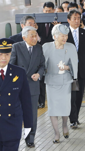 Japan's Imperial Couple goes through Nagoya on way back to Tokyo