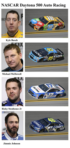 Kyle Busch, Michael McDowell, Ricky Stenhouse Jr, Jimmie Johnson