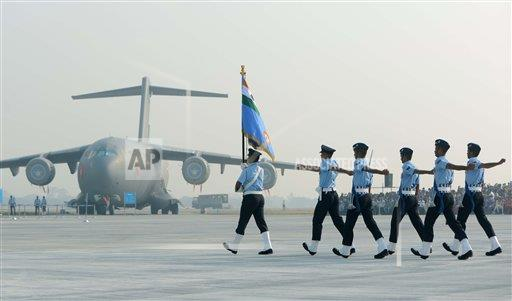 Soldiers Indian Air Force Day parade, New Delhi, India - 08 Oct 2015