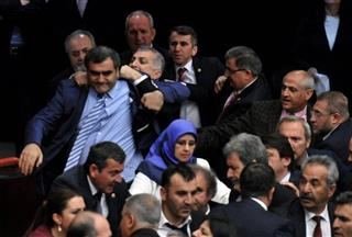 Turkey Legislators Fight