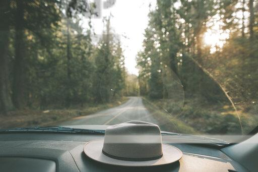 Car driving through forest with hat on dashboard
