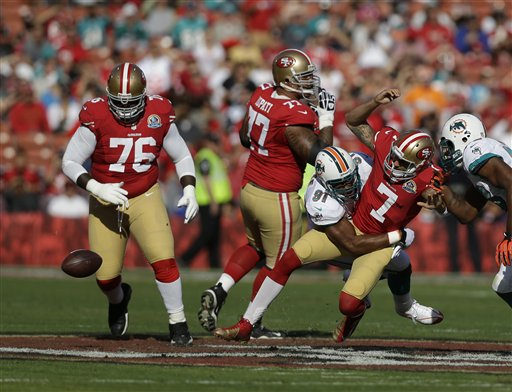 Colin Kaepernick, Cameron Wake, Mike Iupati, Anthony Davis