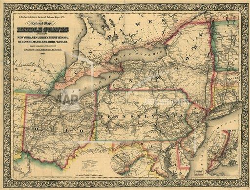 Watchf  A  DC USA APHSCA134 New railroad map of the middle states including New York, New Jersey, Pennsylvania, Delaware, Maryland, Ohio and Canada; drawn,