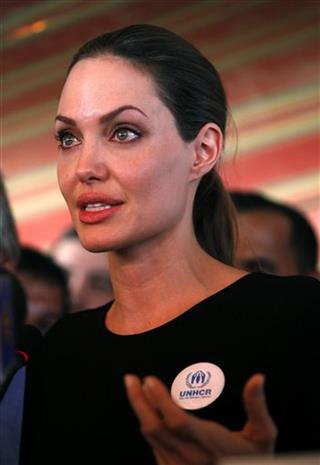 APTOPIX Mideast Jordan Syria Refuges Angelina Julie