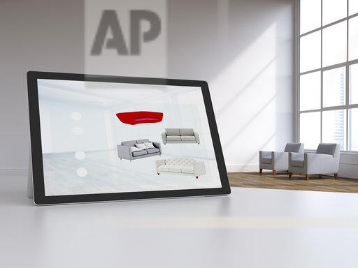 3D rendering, Digital tablet in modern loft with furnitures on display, online shopping for couches