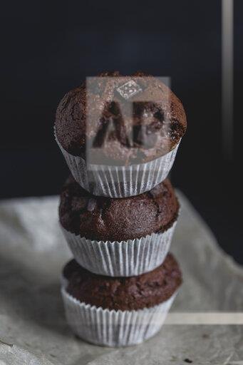 Chocolate muffins, stacked