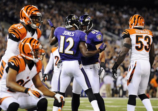 Jacoby Jones, Dennis Pitta, Terence Newman, Thomas Howard, Leon Hall