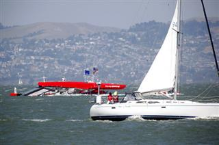 Americas Cup Capsized Boat