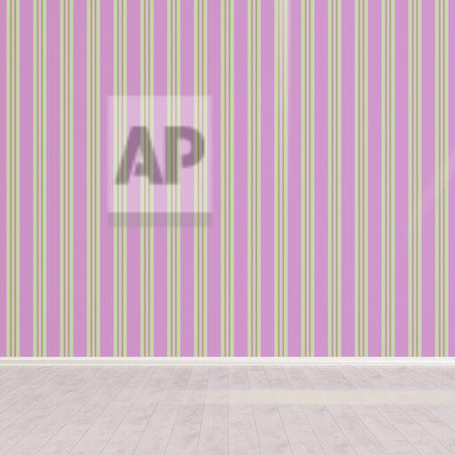 3D rendering, Striped wallpaper in empty room