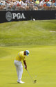 Rafa Cabrera Bello, of Spain, hits to the 17th green during the final round of the PGA Championship golf tournament at Bellerive Country Club, Sunday, Aug. 12, 2018, in St. Louis. (AP Photo/Charlie Riedel)