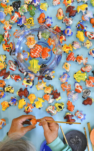 Ceramic goldfish put out in Japan