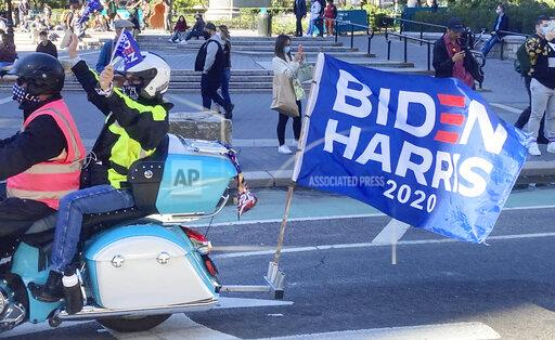 Bikers for Biden ride through Union Square in NYC - 10/17/20