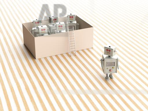 3D rendering, Toy robots escaping from a box