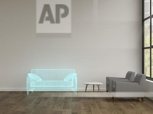 3D rendering, Hologram of couch in modern livingroom with armchairs