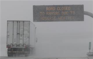 Interstate 70 road closed sign