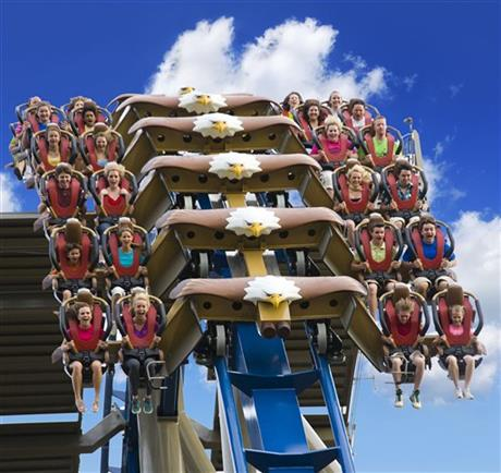Commerical photo shoot at Dollywood, in Pigeon Forge, TN, for the Wild Eagle: America's First Wing Coaster. Photos by Steven Bridges http://sbphotos.com