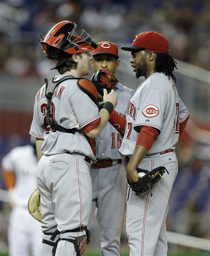 Ryan Hanigan, Wilson Valdez, Johnny Cueto