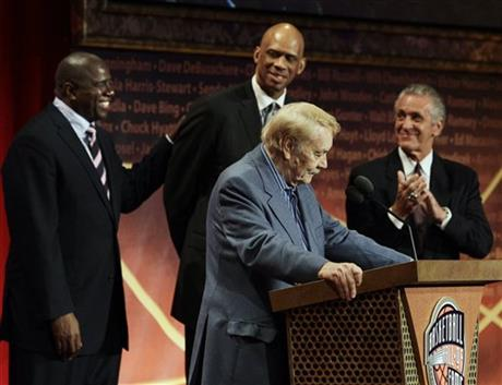 Jerry Buss, Magic Johnson, Kareem Abdul Jabbar, Pat Riley
