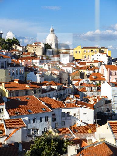 Portugal, Lisbon, Alfama, View from Miradouro de Santa Luzia over district, National Pantheon in the background