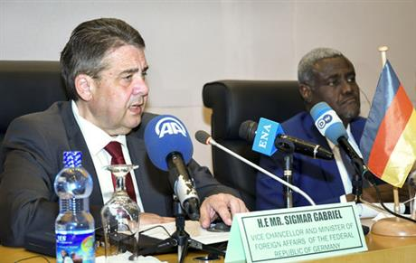 German FM, African Union head say migrant camps not answer