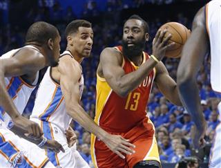 James Harden, Kevin Durant, Thabo Sefolosha