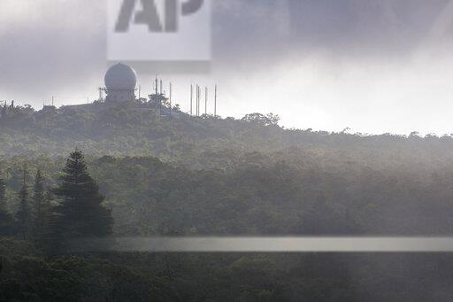 USA, Hawaii, Kauai, Radar station in the fog at Kokee state park