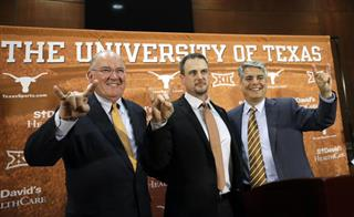Tom Herman, Gregory Fenves, Mike Perrin