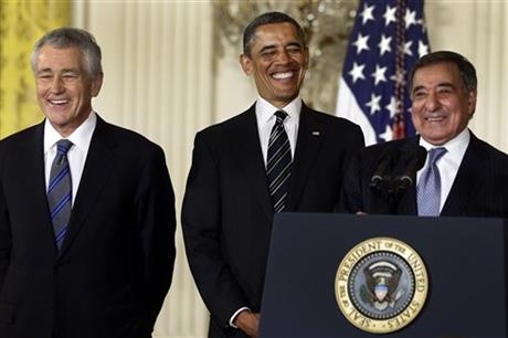 Barack Obama, Chuck Hagel,, Leon Panetta