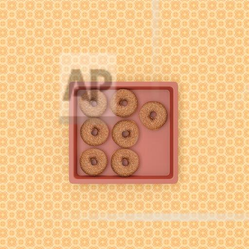 3D rendering, Sweet kringles on baking tray on patterned background
