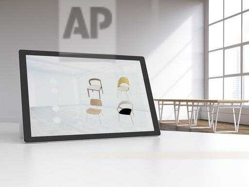 3D rendering, Digital tablet in modern loft with furnitures on display, online shopping for chairs