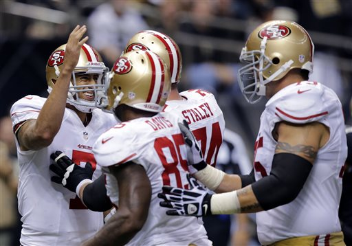 Colin Kaepernick, Vernon Davis, Joe Staley, Alex Boone