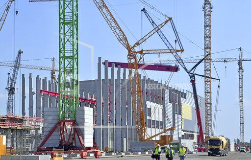 Topping-out ceremony for modern paper mill