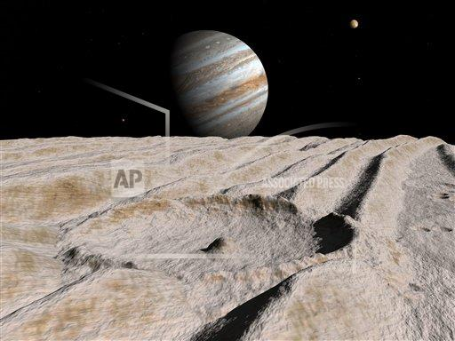 Creative AP T    horizontal Artist's concept of an impact crater on Jupiter's moon Ganymede, with Jupiter on the horizon.
