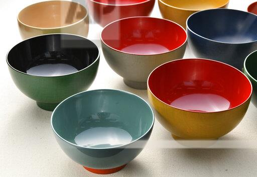 Modern colorful lacquer ware in Japan