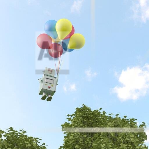 3D rendering, Toy robot flyiing on a bunch of balloons